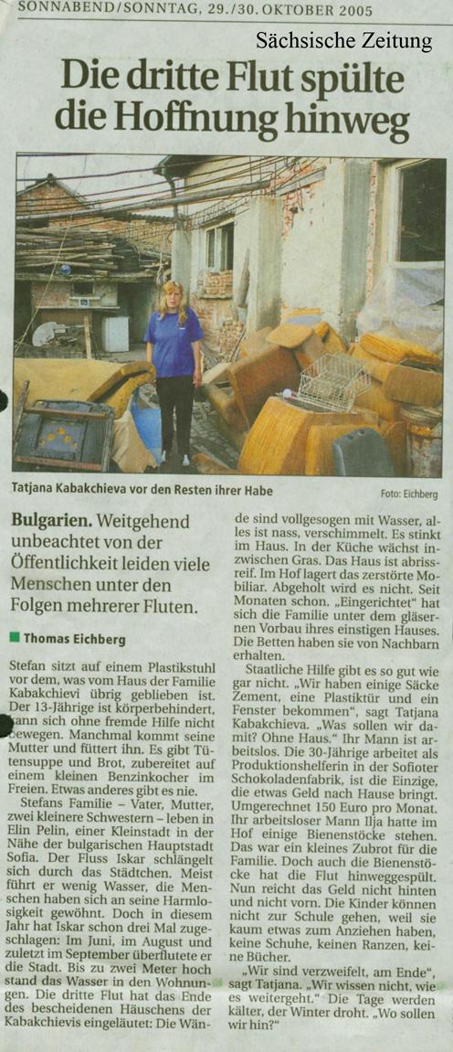 Sächsische Zeitung vom 29./30. Oktober 2005